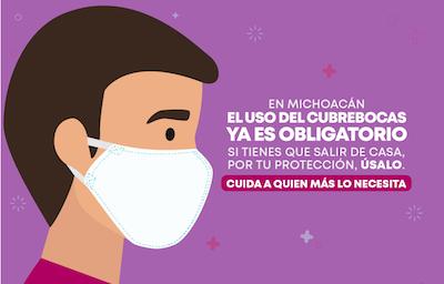 Multas o arresto domiciliario si no se acata la Ley: cubrebocas en Michoacán ahora es obligatorio