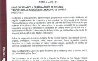 Suspende ayuntamiento eventos masivos en Morelia
