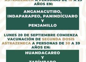 Inicia el lunes segunda dosis para población de 30 a 39 en Tarímbaro